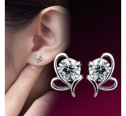 сребърни обеци диамантено сърце