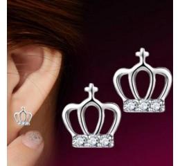 сребърни обеци кралска корона