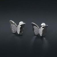 Сребърни обеци - 3D Пеперуда