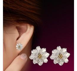 сребърни обеци цвете