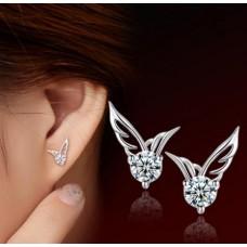 Сребърни обеци - Диамантени криле Ежедневни обеци изображение