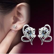 Сребърни обеци - Диамантено сърце снимка