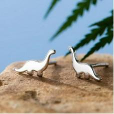 Сребърни обеци - Динозавър Ежедневни обеци изображение