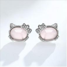 Сребърни обеци - котето Кitty снимка