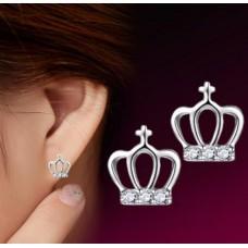 Сребърни обеци - Кралска корона Ежедневни обеци изображение