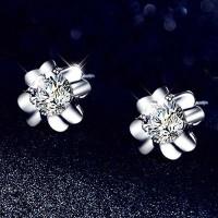 Сребърни обеци - Кристална детелина