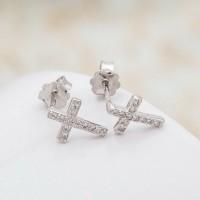Сребърни обеци - Кръстчета