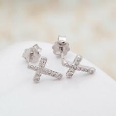 Сребърни обеци - Кръстчета снимка