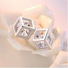 Сребърни обеци - Куб Ежедневни обеци изображение