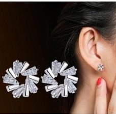 Сребърни обеци - ледено цвете
