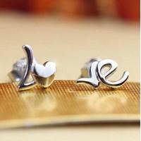Сребърни обеци - Love