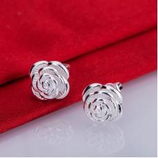 Сребърни обеци - Роза снимка