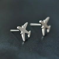 Сребърни обеци - Самолет