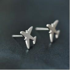 Сребърни обеци - Самолет Ежедневни обеци изображение