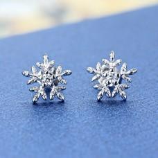 Сребърни обеци - Снежинка блясък снимка