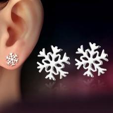Сребърни обеци - Снежинка снимка