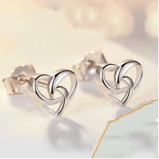 Сребърни обеци - Сърце Ежедневни обеци изображение