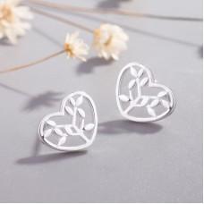 Сребърни обеци - Сърце на живота Ежедневни обеци изображение