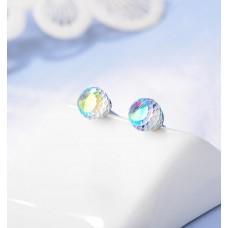 Сребърни обеци - Сваровски кристал аврора снимка