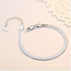 Сребърна гривна - Плоска Змия Гривни изображение