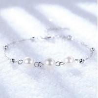 Сребърна гривна - Трио перли 925 печат сребро