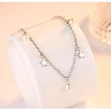 Сребърна гривна - Звезди и перли 925 печат сребро