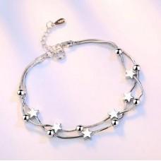 Сребърна гривна - Звезди и топчета 925 печат сребро