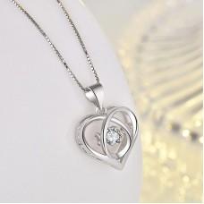 Сребърно колие - Трептящо Сърце снимка
