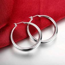 Сребърни обеци - Класически Халки Обеци халки изображение