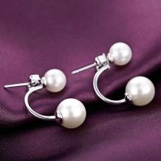 Сребърни обеци - Двойна перла Обеци с перли изображение