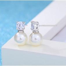 Сребърни обеци - Гръцка перла снимка