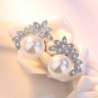 Сребърни обеци - Кокетна перла