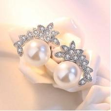 Сребърни обеци - Кокетна перла снимка