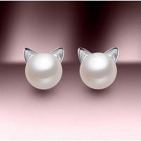 Сребърни обеци - Котешка перла