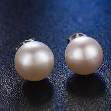 Сребърни обеци - перли Емили снимка