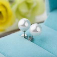 Сребърни обеци - перли Класик снимка