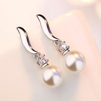 Сребърни обеци - Приказна перла
