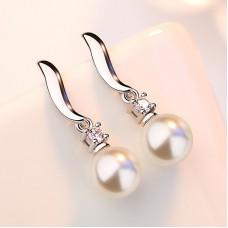 Сребърни обеци - Приказна перла снимка