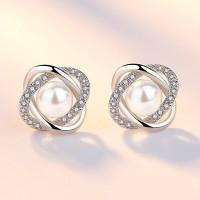 Сребърни обеци - Райска перла